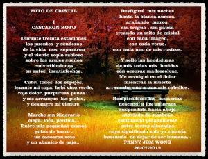 """MITO DE CRISTAL :  I """"CASCARON ROTO"""" POR FANNY JEM WONG"""