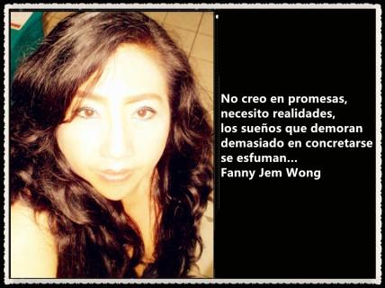 No creo en promesas necesito realidades los sueños que demoran demasiado en concretarse se esfuman FANNY JEM WONG