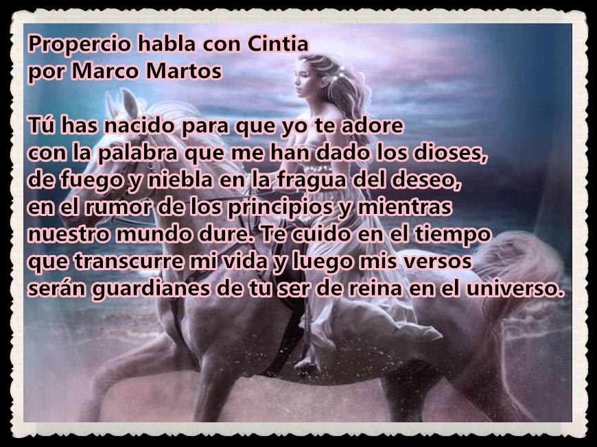 POEMA : Propercio habla con Cintia por Marco Martos