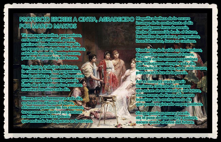 POEMA : PROPERCIO ESCRIBE A CINTIA, AGRADECIDO POR MARCO MARTOS (2)