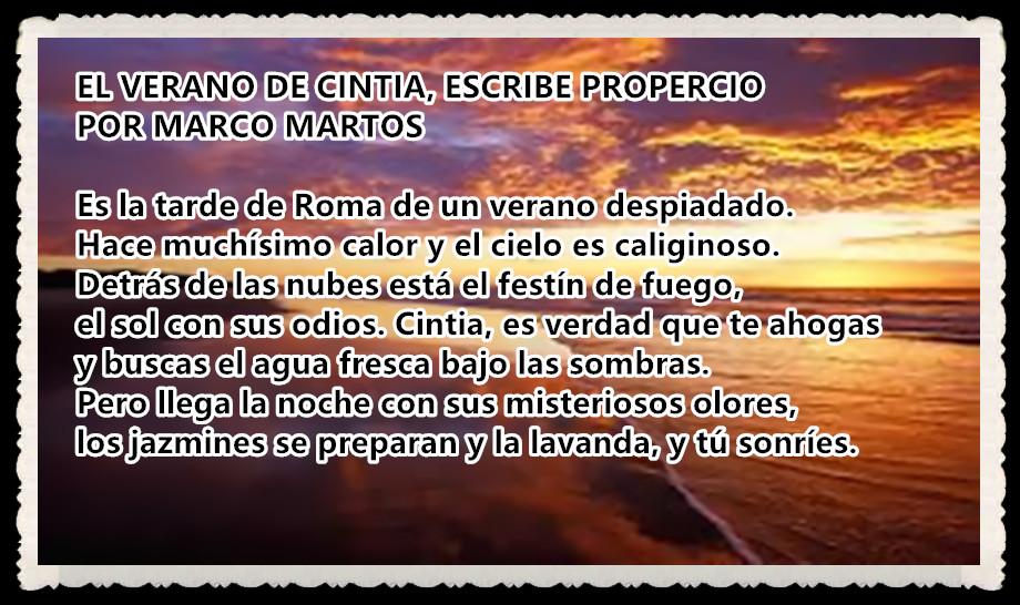 EL VERANO DE CINTIA,  ESCRIBE PROPERCIO  POR MARCOMARTOS