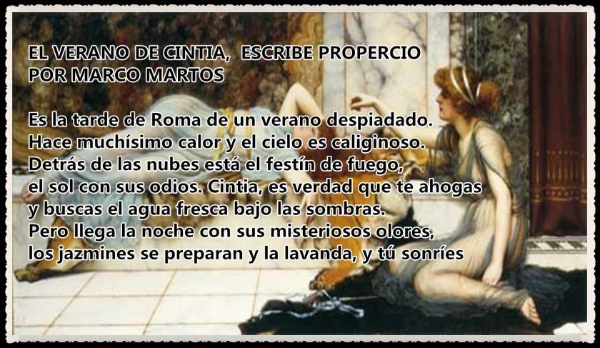 EL VERANO DE CINTIA  ESCRIBE PROPERCIO POR MARCO MARTOS