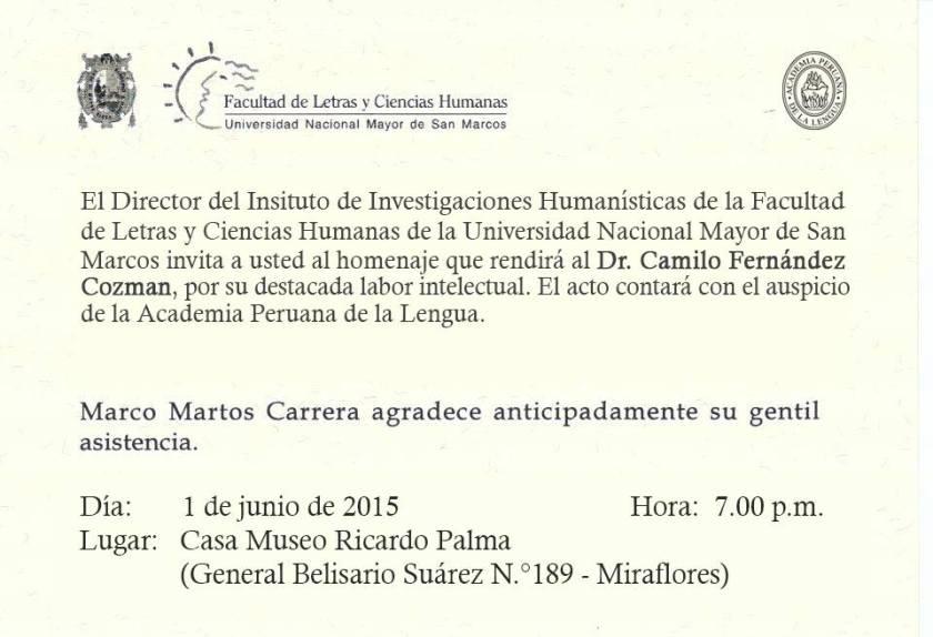 HOMENAJE POR LOS 25 AÑOS DE CRÍTICO LITERARIO DEL DR. CAMILO FERNÁNDEZ COZMAN (1)