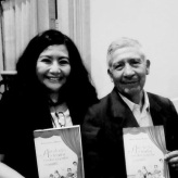 La reconocida poeta, Mg. en Psicología y docente en la Universidad César Vallejo (filial Callao), Fanny Jem Wong, con el destacado dramaturgo peruano y Director de Teatro de la Universidad Ricardo Palma, Áureo Sotelo Huerta, en la Casa Museo Ricardo Palma.