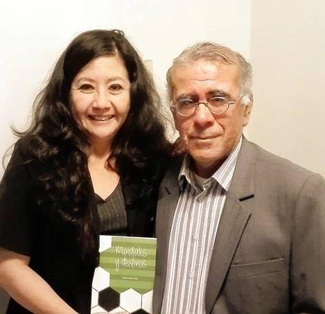 Fanny Jem Wong, con el destacado escritor peruano y representante de la Sociedad Literaria Amantes del País en Francia, Jorge Cuba Luque..