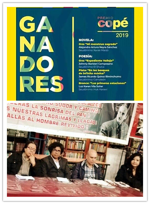 Recital poético compartido: realizado en la Feria del Libro Amazonas:    En la fotografía  los poetas peruanos José Beltrán Peña, Johnny   Barbieri, Santiago Risso, y Fanny Jem Wong. Felicitamos a nuestro   amigo-poeta, JOHNNY BARBIERI, por haber ganado el  prestigioso Premio  Copé de oro 2019. (PERÚ) ¡¡¡¡¡FELICIDADES JOHNNY BARBIERI!!!!!!!