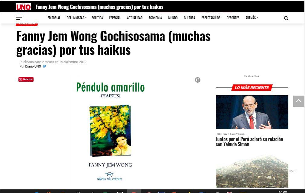 Fanny Jem Wong Gochisousama (muchas gracias) por tus haikus .Wiston Orillo. Publicado el 14 diciembre, 2019 Por Diario UNO